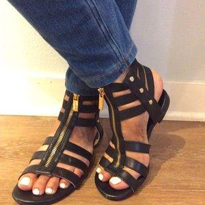 Black and Gold Michael Kors Gladiator Sandals